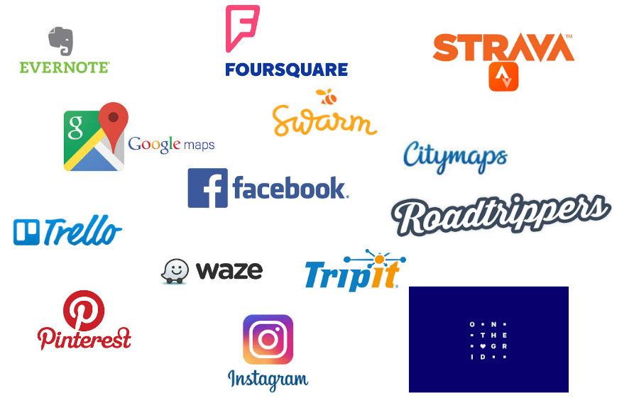 Researched tools: Evernote, Foursquare, Strava, Google maps, Swarm, Facebook, Citymaps, Trello, Roadtrippers, Waze, Pinterest, Tripit, Instagram, On the grid