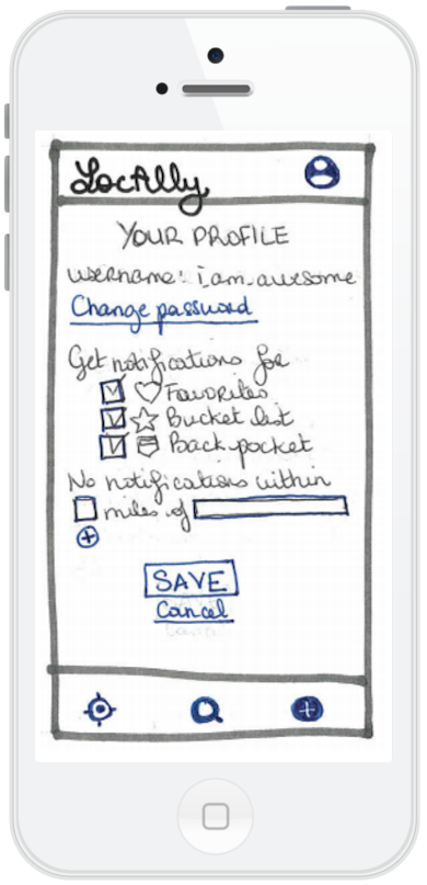 User settings wireframe