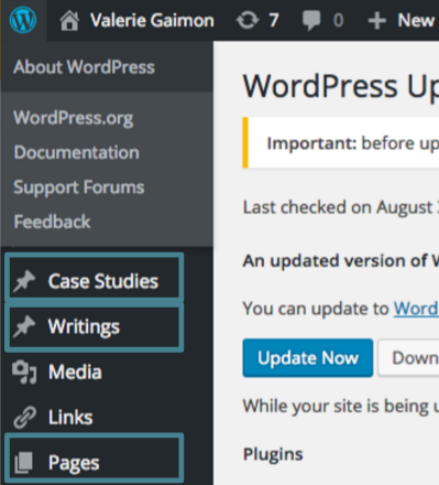 WordPress customized UI